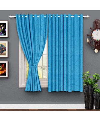 A Blue Printed Polyester Window and Shower etc Curtain
