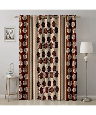 A Brown Printed  Polyester Window,Door etc Curtain