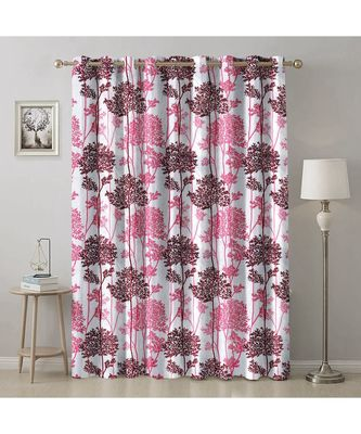A Pink Printed  Polyester Window,Door etc Curtain