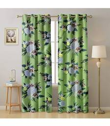 A Green Printed  Polyester Window,Door etc Curtain