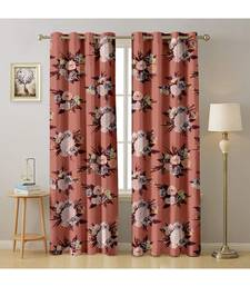 A Peach Printed  Polyester Window,Door etc Curtain