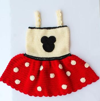 Red hand woven woolen blends kids-frocks