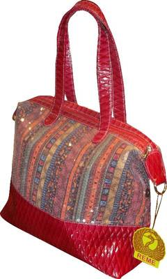 Red multi sequin shoulder Bottom Quilted bag