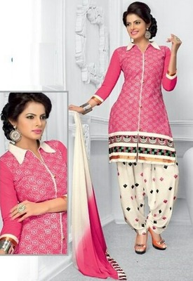 b4cac1fe74 Radiant Cotton Embroidered Patiala Suit Dress Material With Chiffon Dupatta