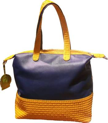 Colorful Large Tote in Orange and Electric Blue