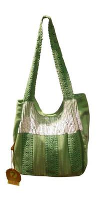 Luscious Green colour sequined jhola bag