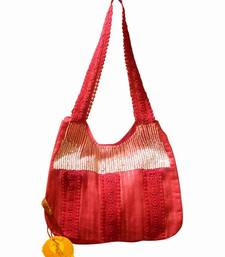 Luscious Red Colour Sequined Jhola Bag
