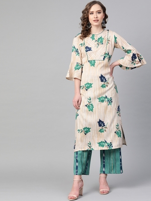 Mandarin Neck, Cream base color and Green color print women Kurta palazzo set