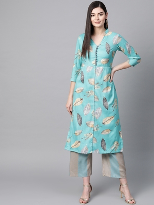 V Neck, with front attached fashion Sky Blue color women Kurta palazzo set