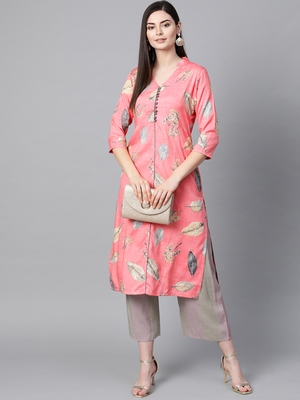 V Neck, with front attached fashion Pink color women Kurta palazzo set