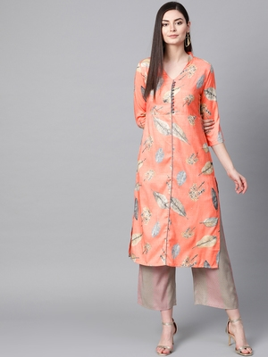 V Neck, with front attached fashion Peach color women Kurta palazzo set