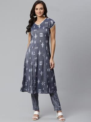 Short Sleeve V Neck Long Length Front Slit Brown and Blue Color women Kurta palazzo