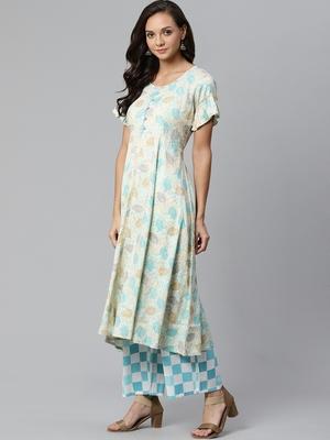 Cream and Blue printed kurta with palazzos Set