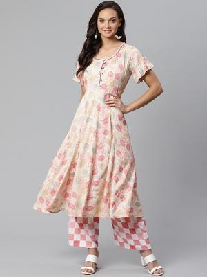 Cream and Pink printed kurta with palazzos Set