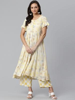 Cream and Yellow printed kurta with palazzos Set