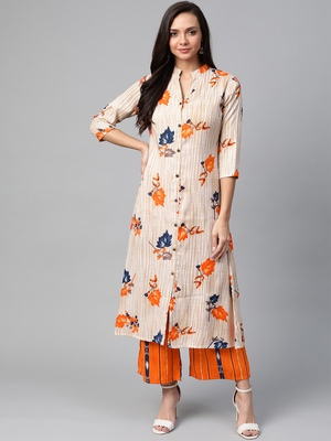 Cream-Coloured and orange floral print kurta with palazzos set