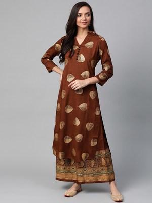 Brown and golden printed kurta with palazzos set