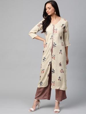 Cream-Coloured and maroon printed kurta with palazzos set