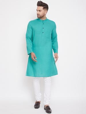 Green solid cotton men-kurtas