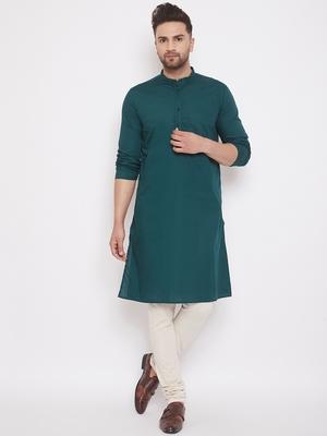Green woven cotton men-kurtas
