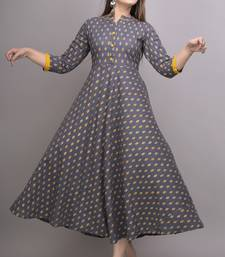 Grey Gold Printed Cotton Blend Flared Kurti