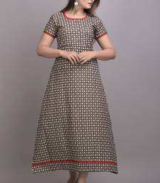 Brown Printed Cotton Hand Wrok A-line Kurti