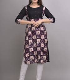 Purple Printed Handwork Rayon Straight Kurti