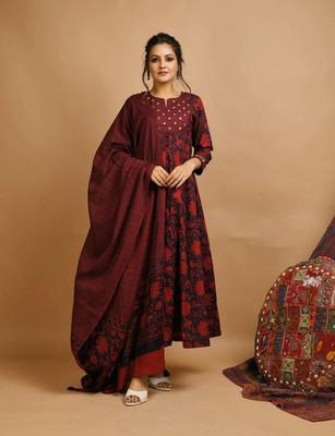 Burgundy Printed Mirrow Salwar Suit Set