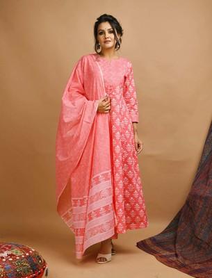 Pink floral print cotton salwar