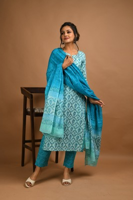 Turquoise floral print cotton salwar