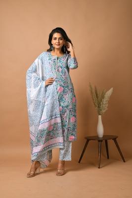 Green floral print cotton salwar