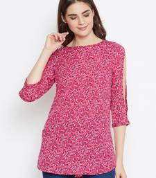 Pink printed polyester tunics
