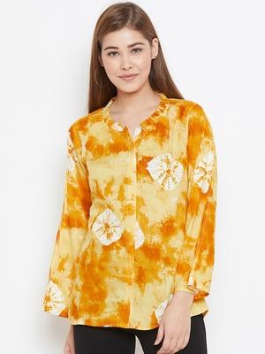 Yellow printed viscose rayon tunics