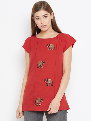 Red embroidered polyester tunics