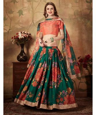 Green Floral Printed Designer Wedding Organza Lehenga Choli with Dupatta for Women