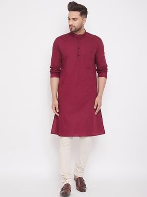Maroon woven cotton men-kurtas