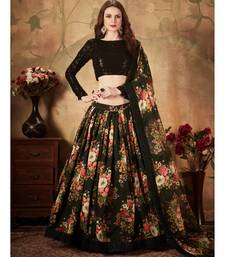 Black Floral Printed Wedding Designer Organza Lehenga Choli for Women Stylish