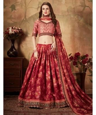 Maroon Floral Print Organza Lehenga with Fully Embroidered Top and Dupatta
