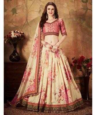 Beige Floral Printed Organza Lehenga with Heavy Embroidered Choli and Dupatta