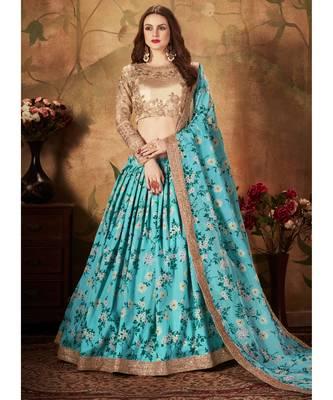 Stunning Sky-Blue Floral Printed Wedding Designer Lehenga Choli for Women Stylish
