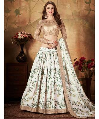 Stunning Off-White Floral Printed Embroidered Bridal Designer Lehenga Choli for Women Stylish
