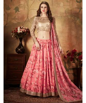 Stunning Pink Floral Printed Organza Wedding Designer Heavy Lehenga Choli for Women Stylish