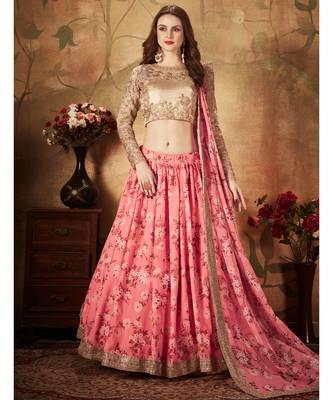 Stunning Pink Floral Printed Organza Wedding Designer Heavy Lehenga Choli for Women Stylish