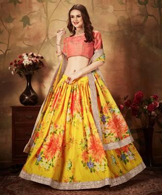 Yellow Floral Printed Heavy Wedding Designer Lehenga Choli for Women Stylish