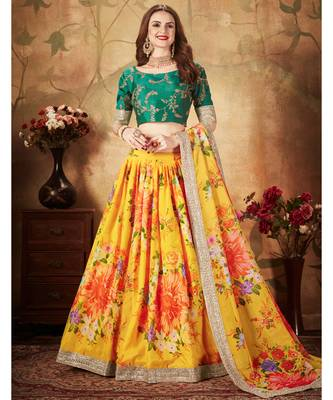 Yellow Amazing Floral Printed Organza Designer Lehenga with Green Blouse and Dupatta