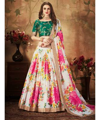 Off-white Amazing Floral Printed organza Wedding Designer Lehenga Choli for Women