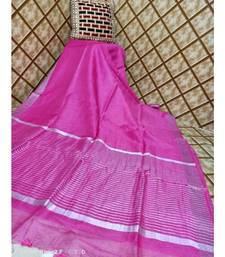 pink  Kota Linen Handloom linen Saree with zari border
