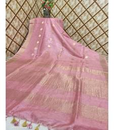 pink Kota Linen Handloom Saree with Zari Buta design