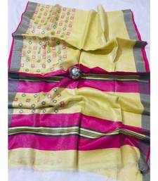 yellow Handcrafted tissue linen saree with jacquard woven design