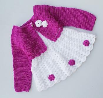 White hand woven woolen blends kids-frocks